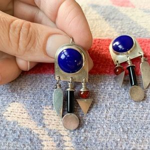 Vintage artist made silver and Lapis earrings